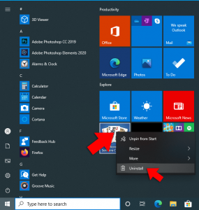 uninstall windows 10 app