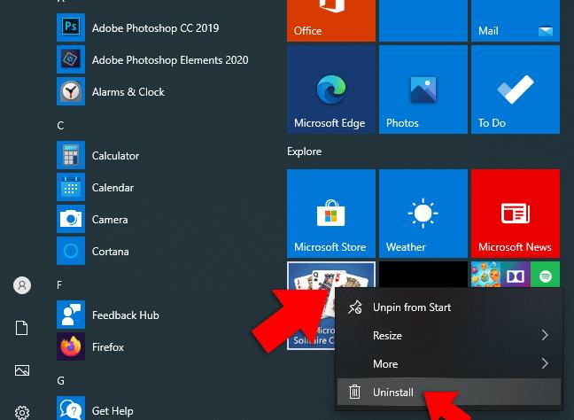 uninstall app windows 10