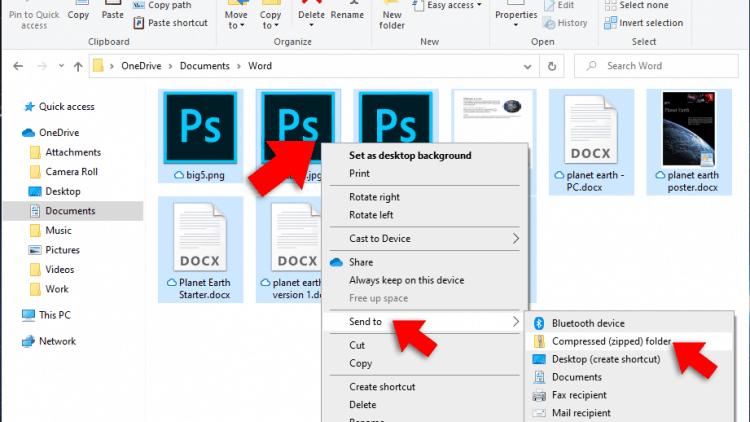 Create a Compressed Zip File in Windows