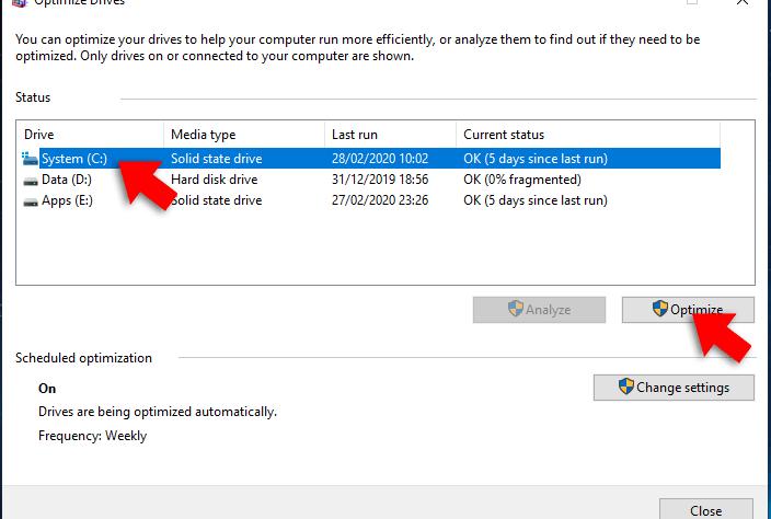 optimize drive windows 10