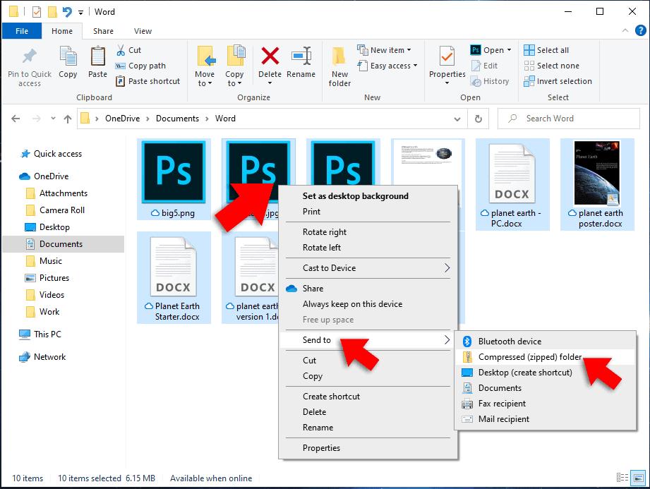 right click compress files