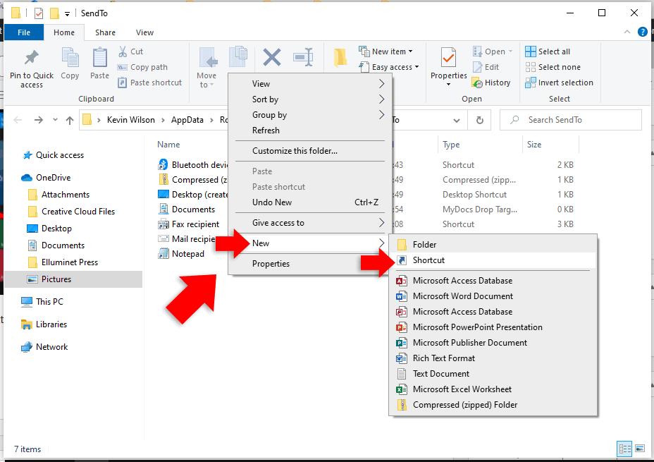 create shortcut file explorer in windows 10