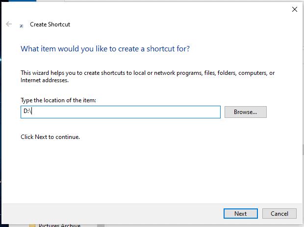create shortcut windows 10