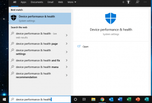 device performance and health settings