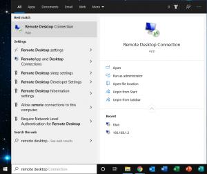 open remote desktop connection windows 10