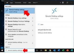 remote desktop settings