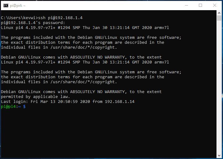 Connect to SSH server from Windows 10 Command Prompt
