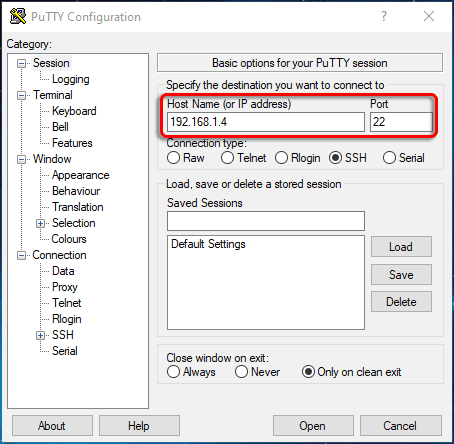 connect to SSH server using PuTTY