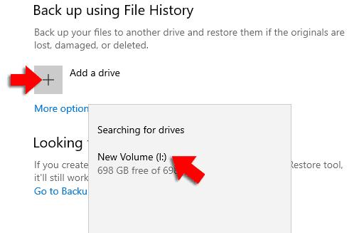 add drive windows 10 file history
