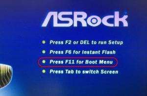 BIOS boot menu