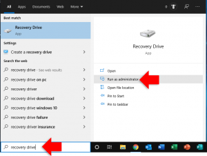 search for windows 10 recovery drive creator