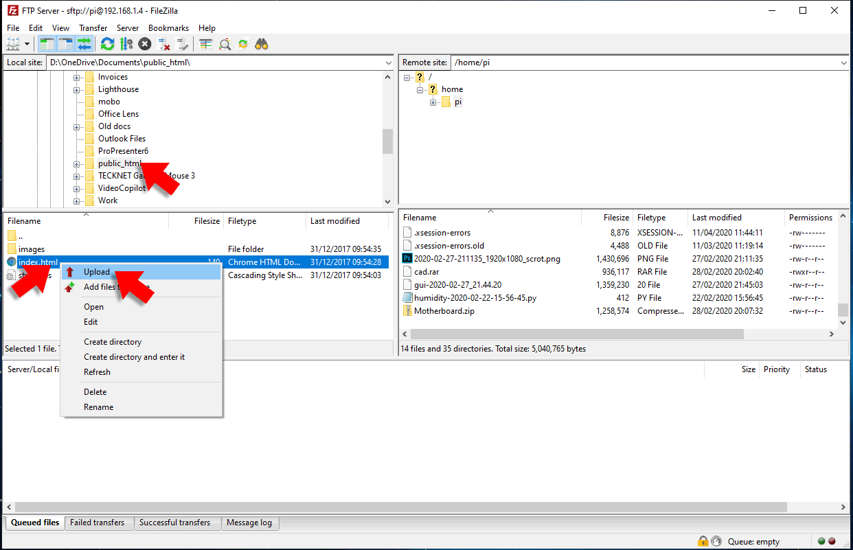 uploading a file filezilla ftp