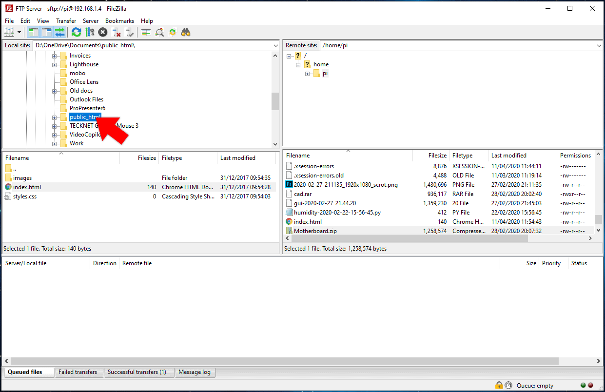 downloading a file in filezilla ftp