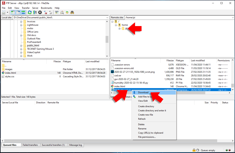 downloading a file in filezilla ftp