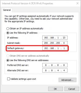default gateway settings in windows 10
