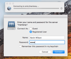 macos connect to server password