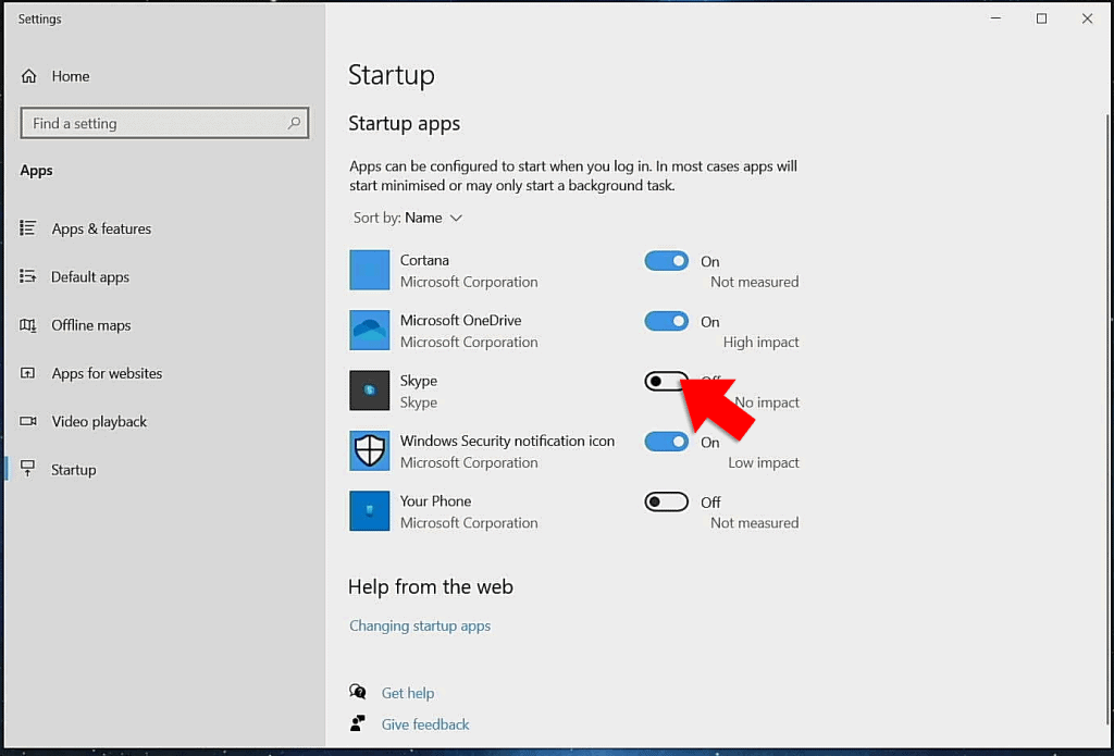 Enable or disable windows 10 start up apps.