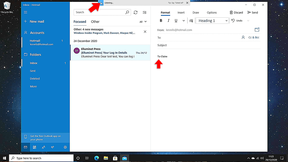 Voice dictation email in windows 10