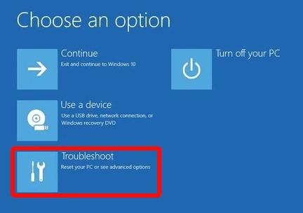 choose troubleshoot option