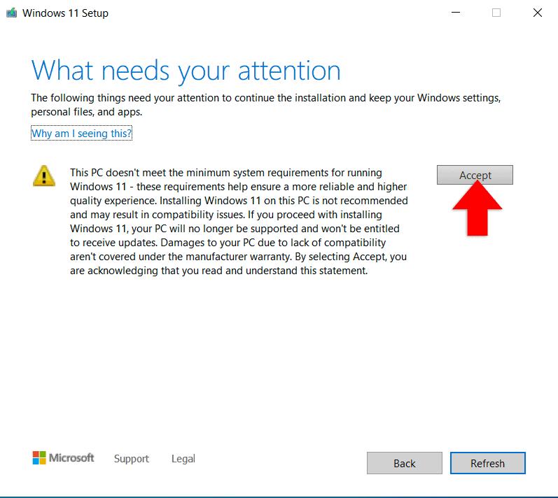 Windows setup unsupported hardware warning